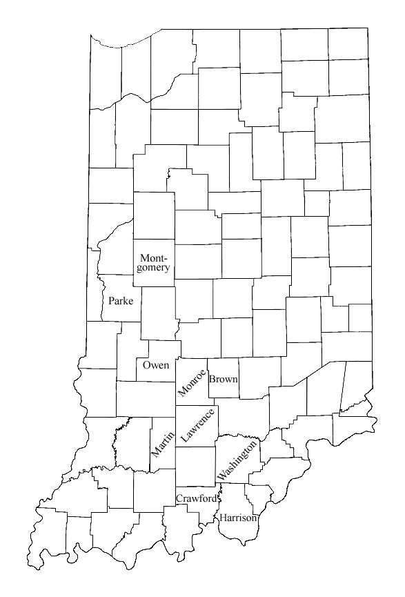Indiana - Map of indiana county us census